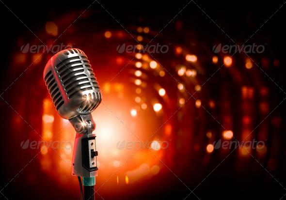audio microphone retro style - Stock Photo - Images