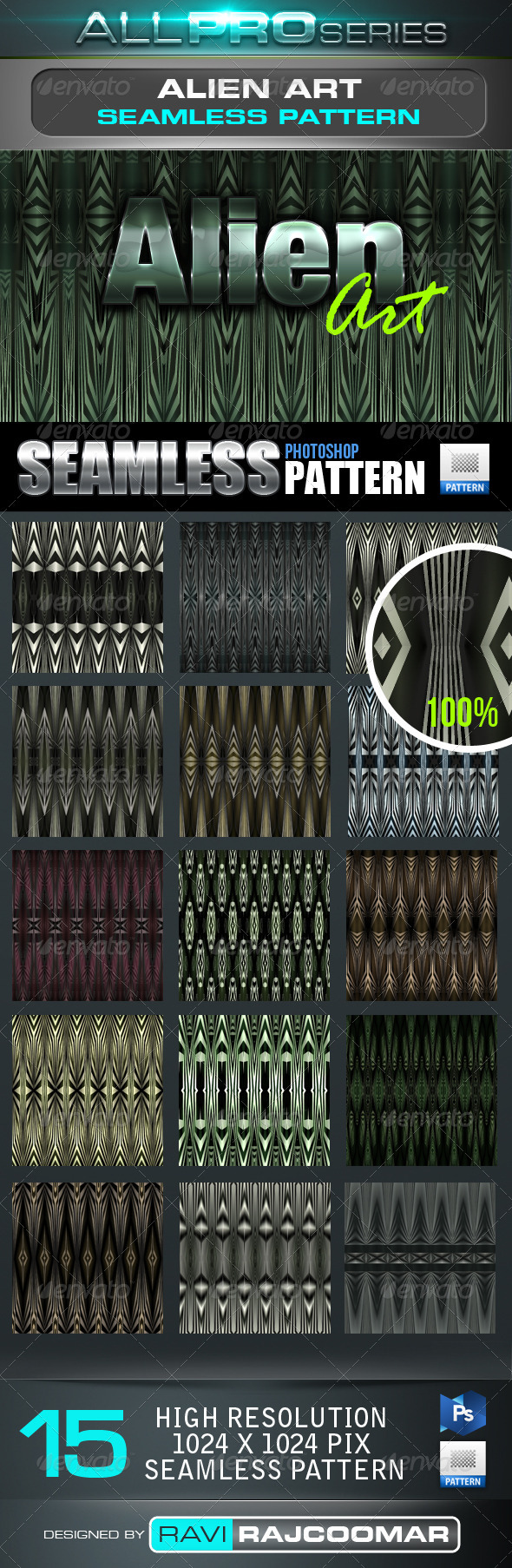 Alien Art Seamless-Tileable Photoshop Patern - Techno / Futuristic Textures / Fills / Patterns
