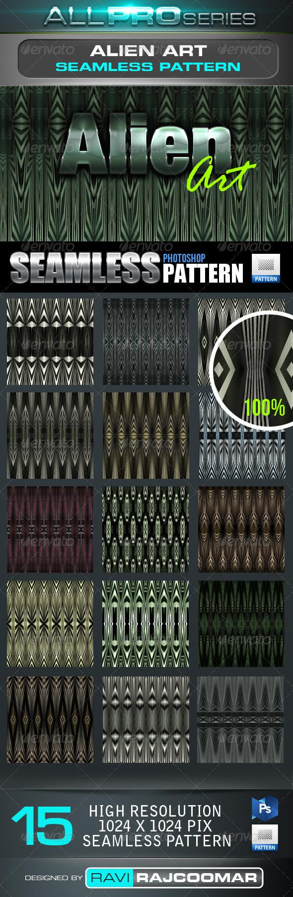 Alien Art Seamless-Tileable Photoshop Patern - Techno / Futuristic Textures / Fills / Patterns