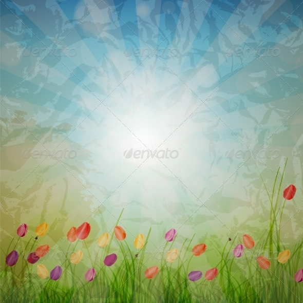 Summer Abstract Background with grass and tulips a - Miscellaneous Vectors