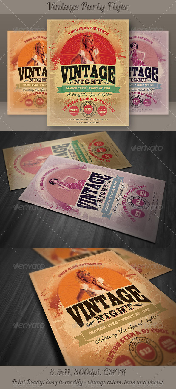 GraphicRiver Vintage Party Flyer 4027747