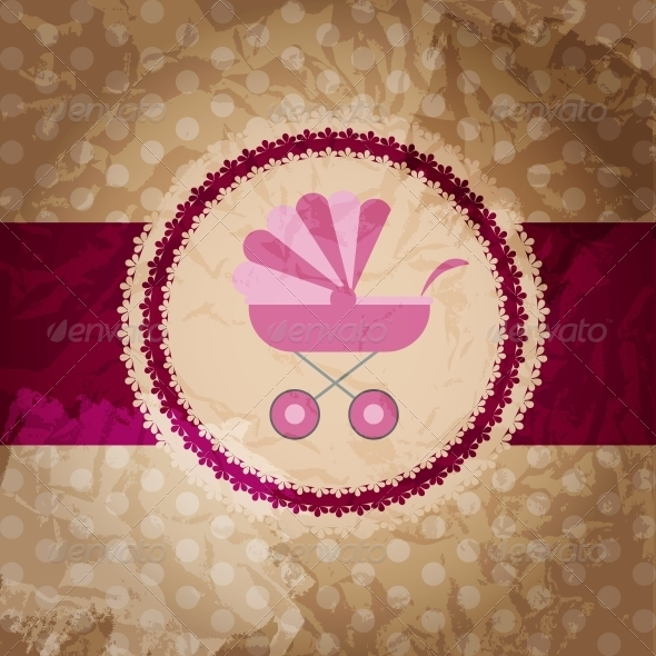 GraphicRiver Vector illustration of pink baby carriage for newb 4027943