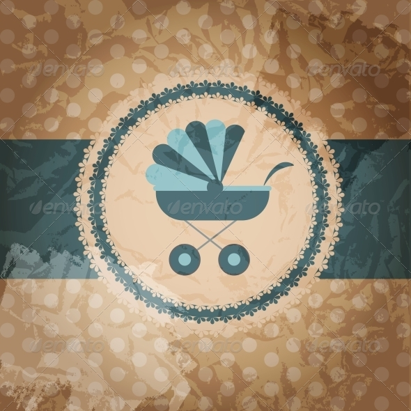 GraphicRiver Vector illustration of blue baby carriage for newb 4027945