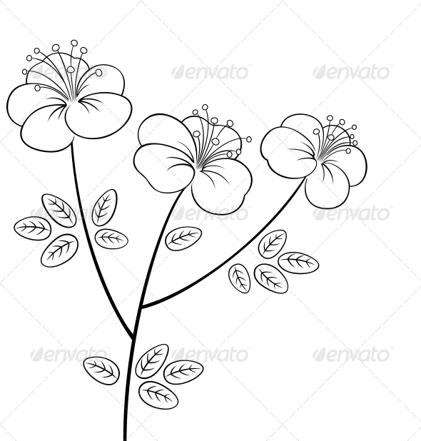 Line Art Flowers And Plants : Pretty flower line art graphicriver