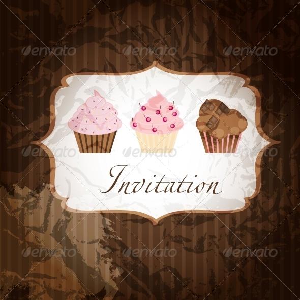 GraphicRiver cupcake invitation background 4027956