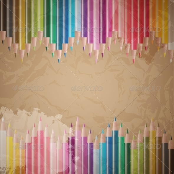 GraphicRiver vector set of colored pencils 4027974