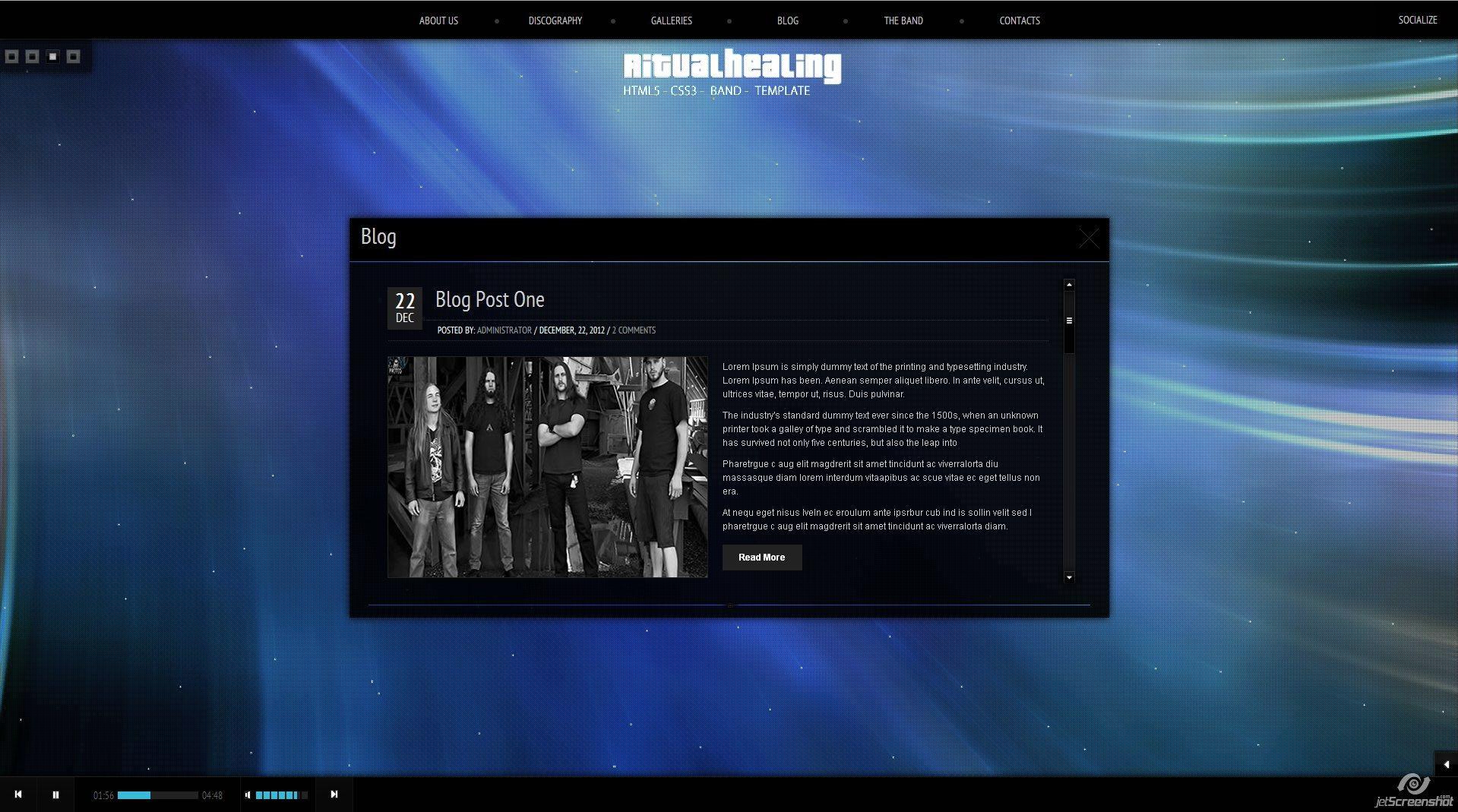 Ritualhealing Musician Template HTML5 CSS3 -