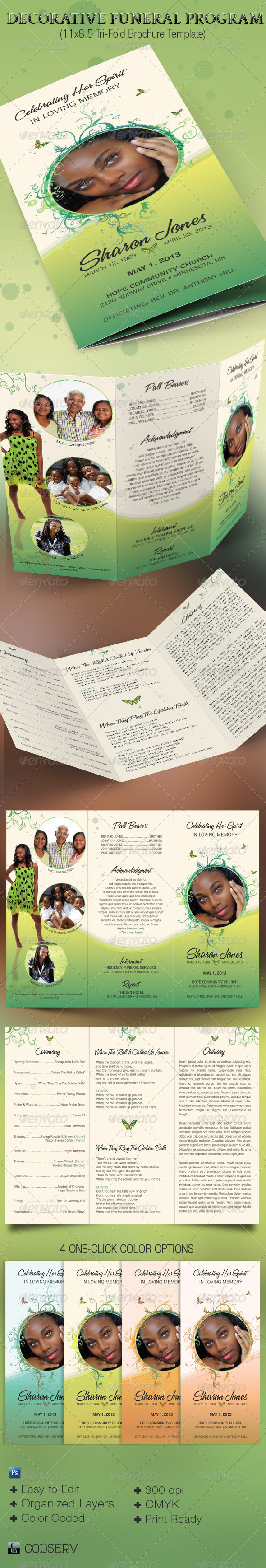 GraphicRiver Decorative Tri-Fold Funeral Program