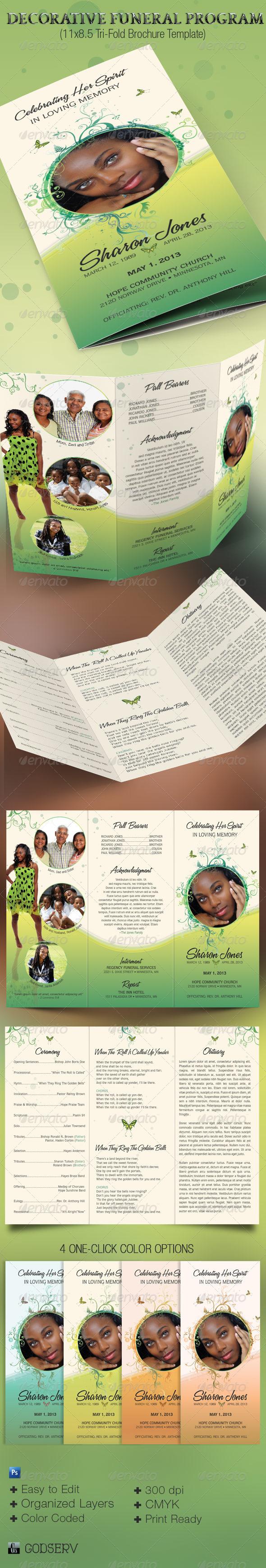 GraphicRiver Decorative Tri-Fold Funeral Program 4029124