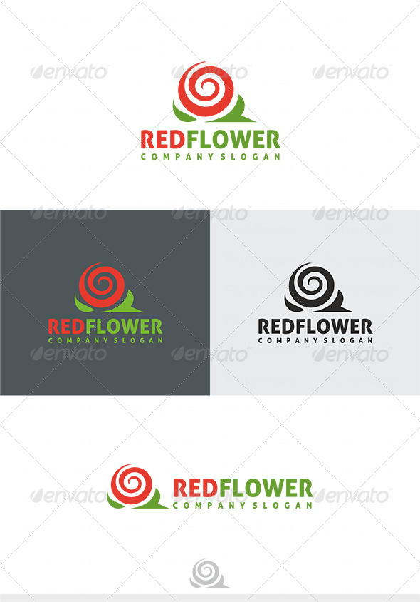 GraphicRiver Red Flower Logo 4029219