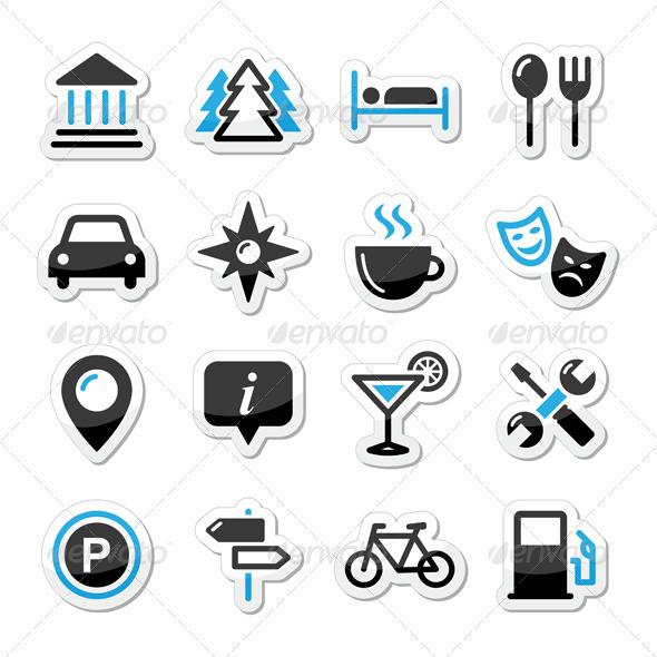 GraphicRiver Travel Tourism Icons Set Vector 4029454