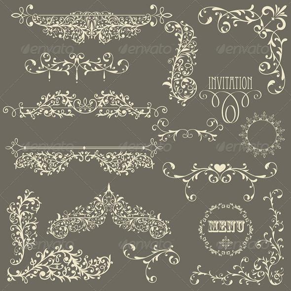 GraphicRiver Vector Lacy Vintage Design Elements 4029576