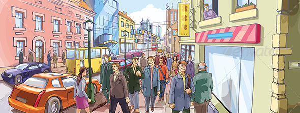 GraphicRiver Street Crowd 4030580