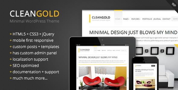 ThemeForest CleanGold Minimal WordPress Theme 4030629