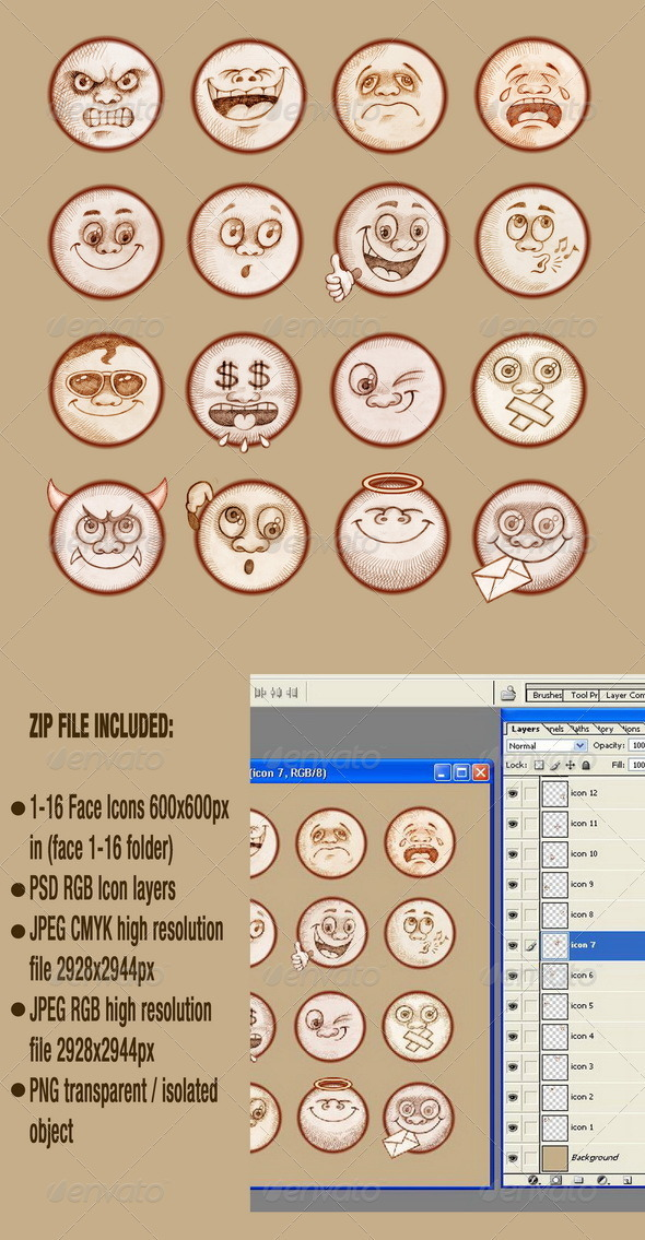 GraphicRiver Face Emotions Emoticons Set 3973154