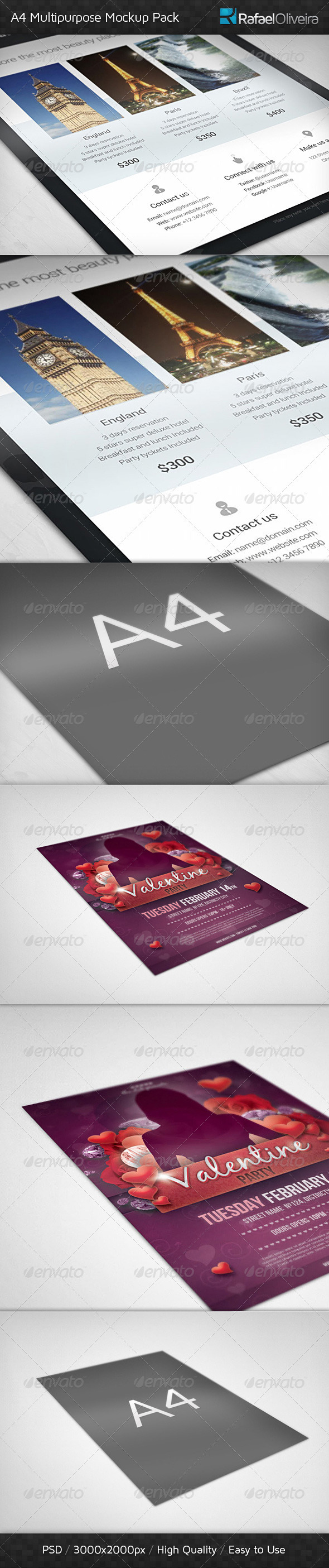 A4 Multipurpose Mock-ups Pack - Miscellaneous Print