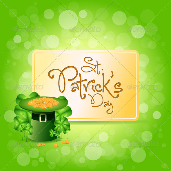GraphicRiver St Patricks Day Card with Leprechaun Hat 4033018