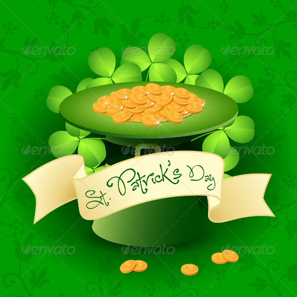 GraphicRiver St Patricks Day Card with Leprechaun Hat 4033559