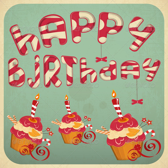 GraphicRiver Vintage Birthday Card with Cakes 4033644
