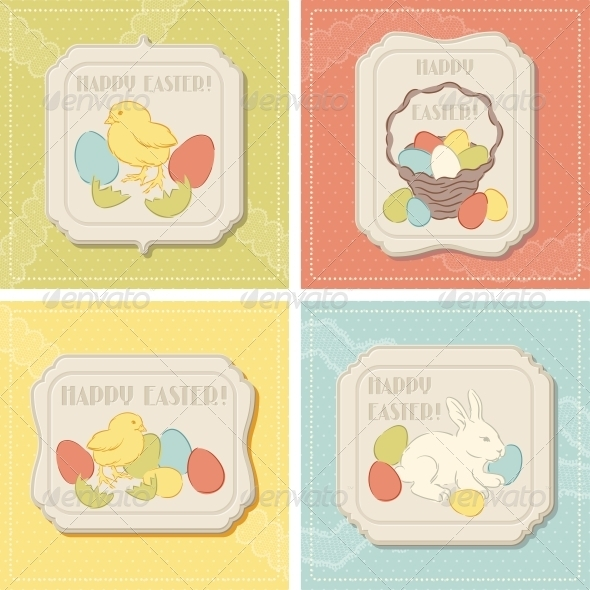 GraphicRiver Happy Easter Retro Greeting Card 4033792