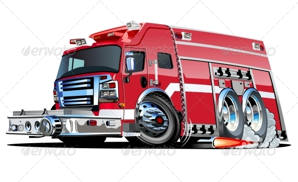 GraphicRiver Vector Cartoon Fire Truck 4033797