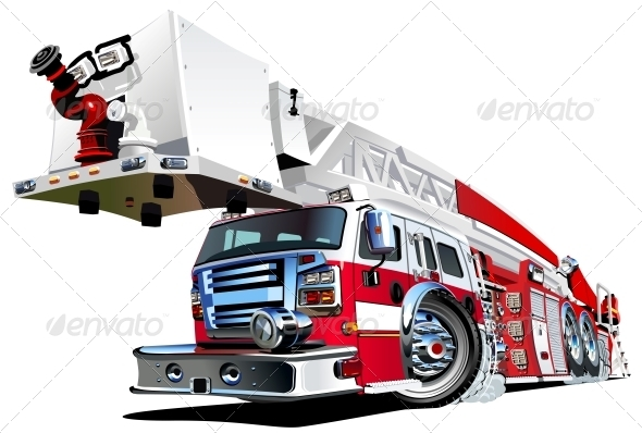 Vector Cartoon Fire Truck - Man-made Objects Objects