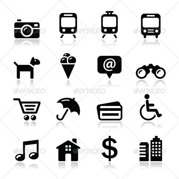 GraphicRiver Travel Tourism and Transport Icons Set 4034066