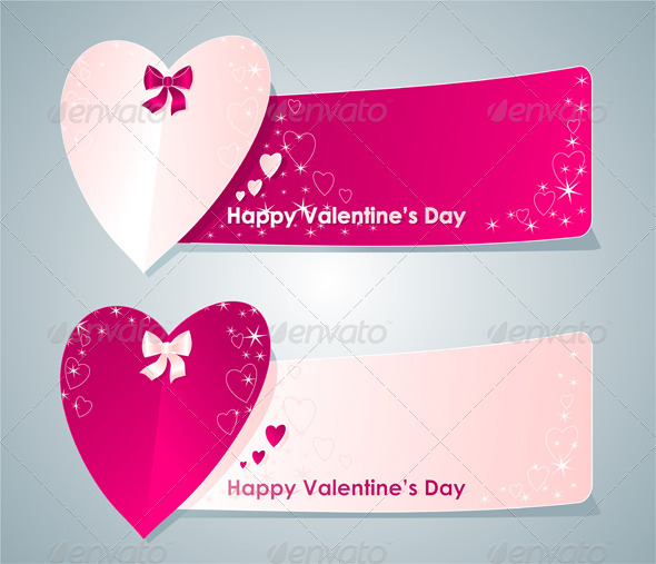 Two banners with hearts - Valentines Seasons/Holidays