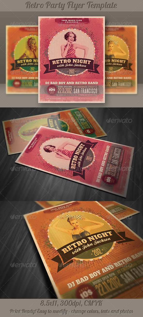 GraphicRiver Retro Party Flyer Template 3927555