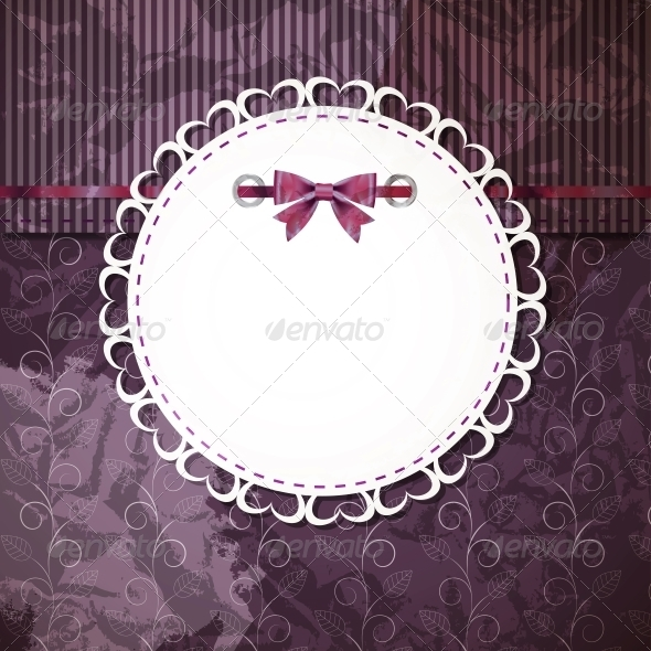 GraphicRiver vintage frame with bow vector illustration 4034973
