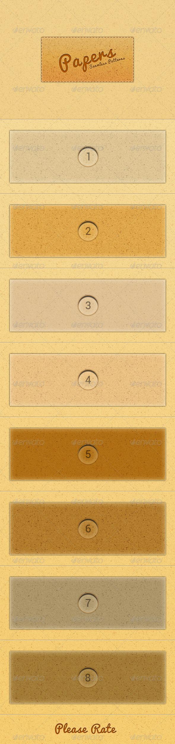 Eight Seamless Paper Texture Patterns - Textures / Fills / Patterns Photoshop