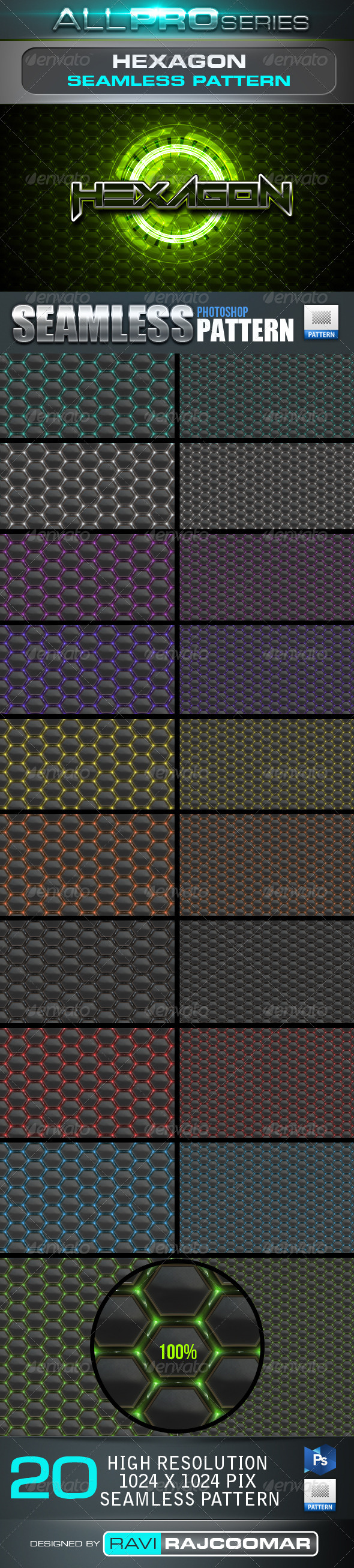 GraphicRiver Hexagon Seamless Tileable Patter 4035186