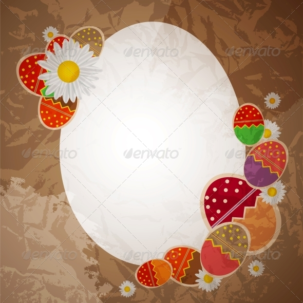 GraphicRiver Easter eggs card with colourful eggs vector illus 4035278