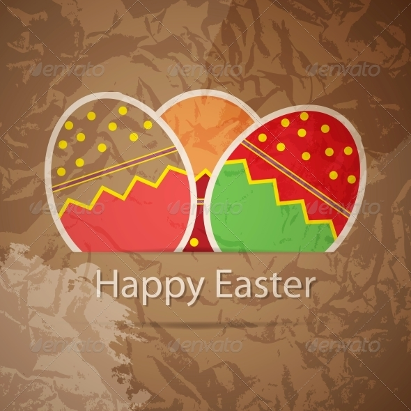 Easter eggs card with colourful eggs vector illus