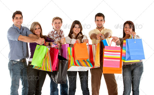 Group of shoppers - Stock Photo - Images