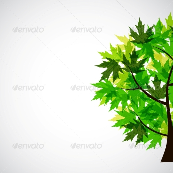 GraphicRiver Abstract Vector Spring Tree Illustration 4035986