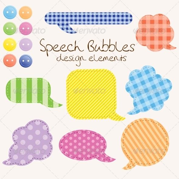 Set of Different Speech Bubbles, Design Elements - Backgrounds Decorative