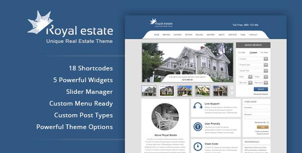 ThemeForest Royal Estate Premium Wordpress Real Estate Theme 3975258