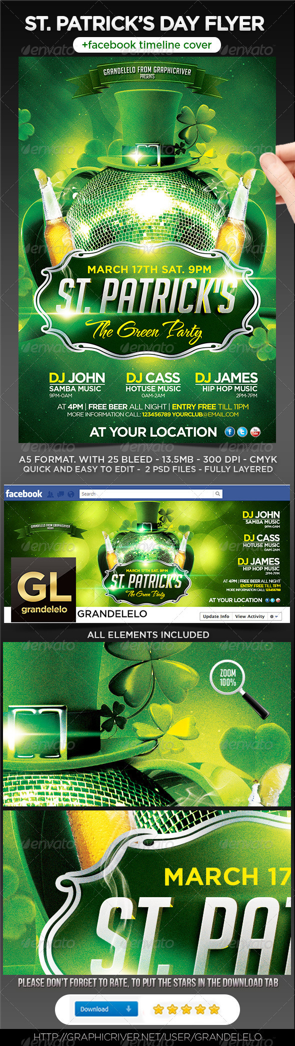 St. Patricks Flyer Template + Facebook Timeline - Holidays Events