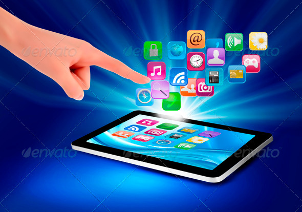 Background with Color Icons in a Tablet and Hand - Technology Conceptual