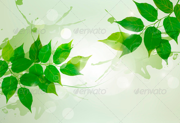 GraphicRiver Nature Background with Green Spring Leaves 4038159