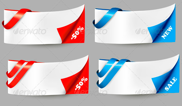 GraphicRiver Red and Blue Sale Banners with Ribbons 4038165