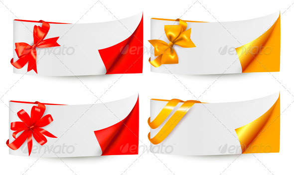 GraphicRiver Holiday Banners with Gift Bows and Ribbons 4038175