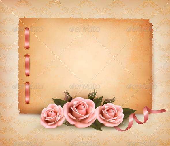 GraphicRiver Retro Background with Beautiful Pink Roses 4038178