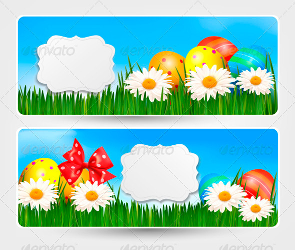 Easter Banners with Easter Eggs and Colour Flower