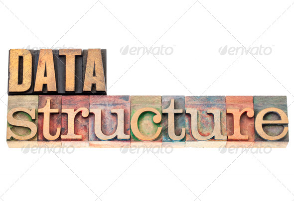 data structure in wood type - Stock Photo - Images