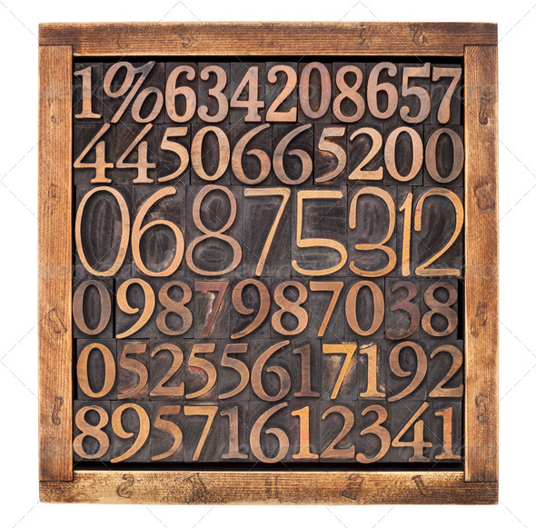 wood type numbers in box - Stock Photo - Images
