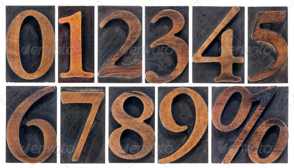 isolated numbers in wood type - Stock Photo - Images