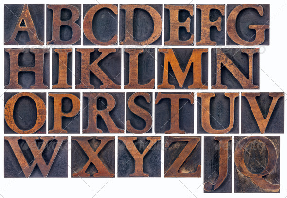 isolated alphabet in wood type - Stock Photo - Images