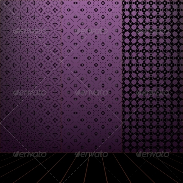 GraphicRiver Lilac Room with Set Seamless and Wooden Floor 4038552